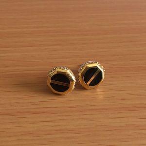 Swarovski Black Gold Toned Post Earrings